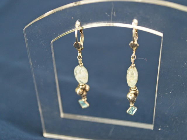 image of fancy sterling earrings with aquamarine bead