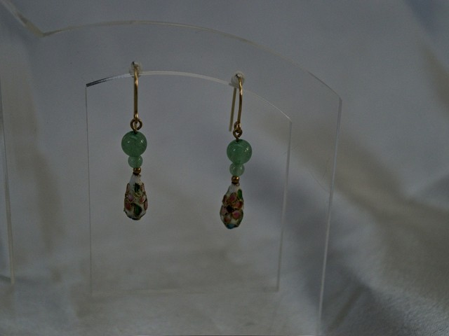 image of cloisonne, aventurine, and gold-filled earrings