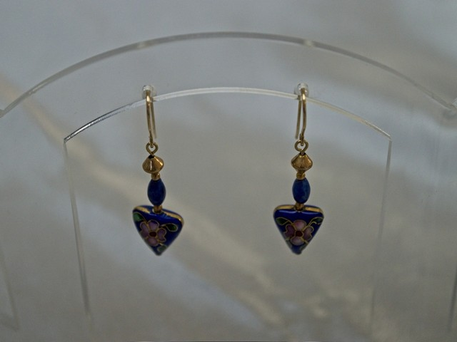 image of cloissone, lapis, and gold-filled earrings