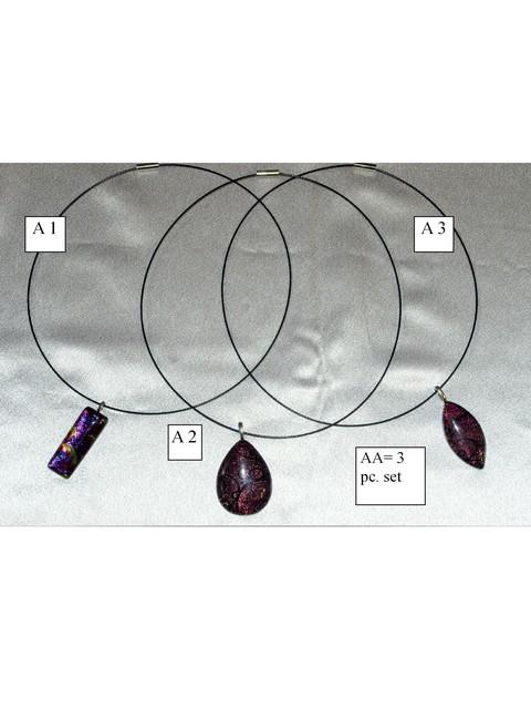 trio of dichroic glass pendant necklaces