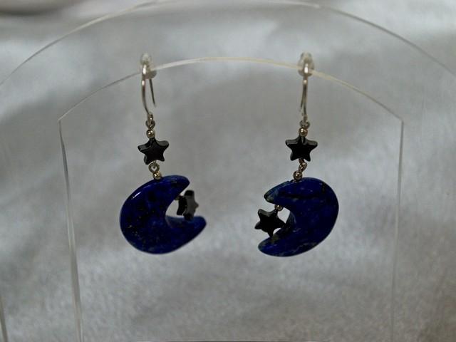image lapis lazuli moon earrings