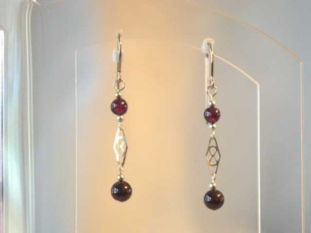 image of garnet and sterling earrings